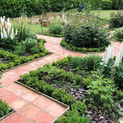 Formal garden in a rural setting